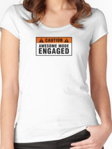 Caution: Awesome mode engaged Women's Fitted Scoop T-Shirt