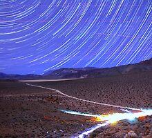 Space Star Trails over Moonlit Death Valley Desert by Gavin Heffernan