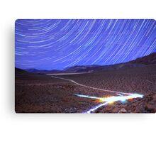 Space Star Trails over Moonlit Death Valley Desert Canvas Print