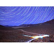 Space Star Trails over Moonlit Death Valley Desert Photographic Print