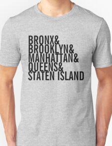 New York City - Neighborhoods (black) Unisex T-Shirt