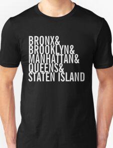 New York City - Neighborhoods (white) Unisex T-Shirt