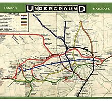 Tube, map, 1908, London, Underground, Historic by TOM HILL - Designer