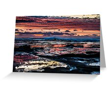 Pinks, blues, sky, rocks, sea Greeting Card