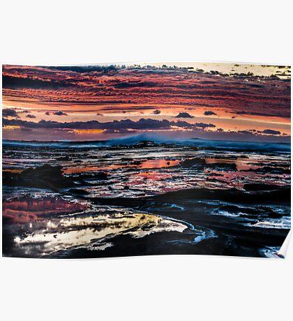 Pinks, blues, sky, rocks, sea Poster