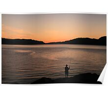 Sunset fishing Poster