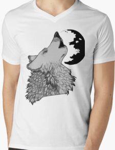 Wolf Howl Mens V-Neck T-Shirt