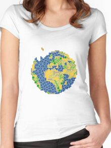 tetris earth  Women's Fitted Scoop T-Shirt