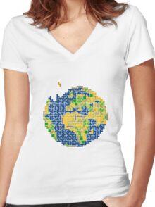 tetris earth  Women's Fitted V-Neck T-Shirt