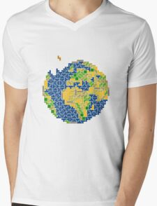 tetris earth  Mens V-Neck T-Shirt
