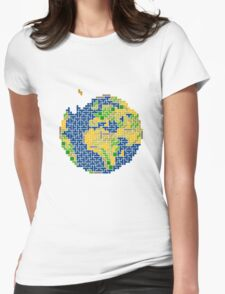 tetris earth  Womens Fitted T-Shirt