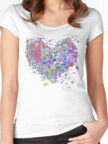 Paint splatter heart Women's Fitted Scoop T-Shirt