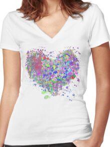 Paint splatter heart Women's Fitted V-Neck T-Shirt
