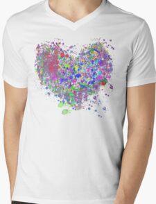Paint splatter heart Mens V-Neck T-Shirt