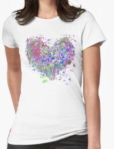 Paint splatter heart Womens Fitted T-Shirt