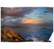 Sunset city view Honolulu Oahu Hawaii Poster