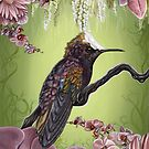 Sweetpea Hummingbird with Orchids and Daisies by plantiebee
