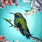 Junebug Green Hummingbird with Jasmine Orchids Flowers by plantiebee