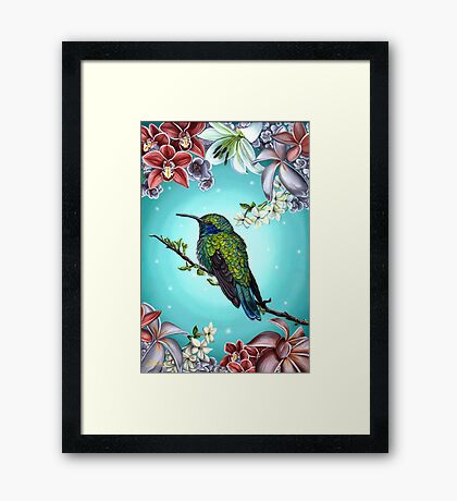 Junebug Green Hummingbird with Jasmine Orchids Flowers Framed Print