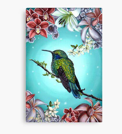 Junebug Green Hummingbird with Jasmine Orchids Flowers Canvas Print