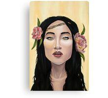 Brave Girl with Yellow Eyes Flower Headband Canvas Print