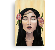 Brave Girl with Yellow Eyes Flower Headband Canvas Print