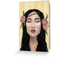 Brave Girl with Yellow Eyes Flower Headband Greeting Card