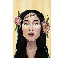 Brave Girl with Yellow Eyes Flower Headband Photographic Print