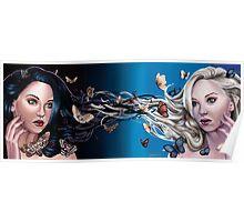 Equilibrium - two girls light dark butterflies & moths Poster