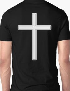 Cross, Christian, Crucifix, Christianity, Jesus, Lord, White on Black T-Shirt