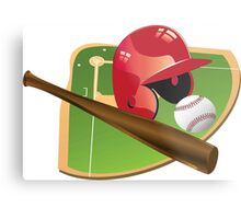 Red Baseball Metal Print