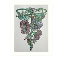 Vintage Style Stained Glass Morning Glory Art Print