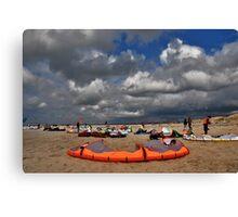 Kites on the beach Canvas Print