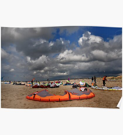 Kites on the beach Poster