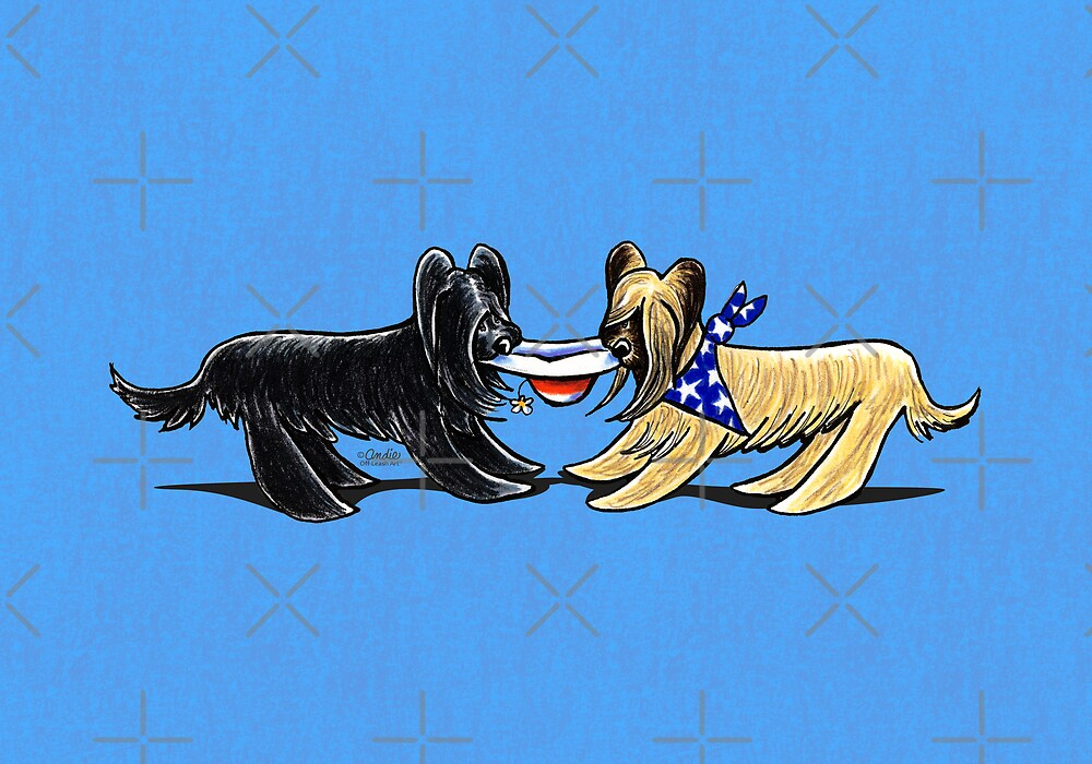 Briard Mat Hatters Off-Leash Art™ Berry Blue by offleashart