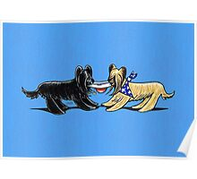 Briard Mat Hatters Off-Leash Art™ Berry Blue Poster