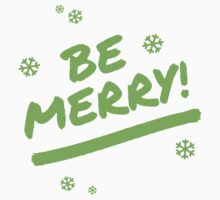 Bright Green Be Merry Marker Pen Font Christmas Snowflakes Baby Tee