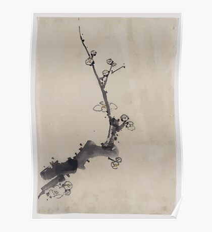 Fruit tree branch with blossoms 001 Poster