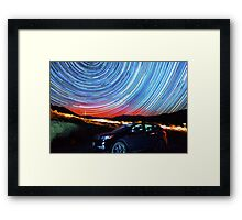 Death Valley Aurora Star Trails Over Car Framed Print