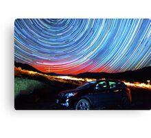 Death Valley Aurora Star Trails Over Car Canvas Print