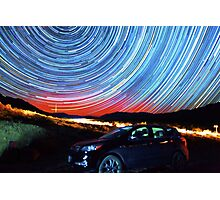 Death Valley Aurora Star Trails Over Car Photographic Print