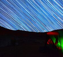 Galaxy Star Trails Streak Over Green Tent by Gavin Heffernan