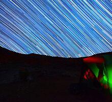 Galaxy Star Trails Streak Over Green Tent by Gavin Heffernan