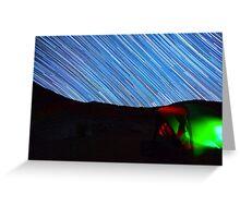 Galaxy Star Trails Streak Over Green Tent Greeting Card