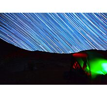 Galaxy Star Trails Streak Over Green Tent Photographic Print