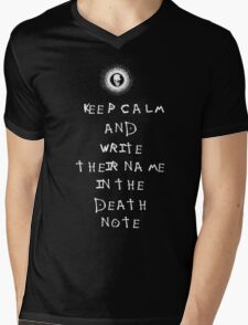 Death Note - KEEP CALM AND WRITE THEIR NAME IN THE DEATH NOTE Mens V-Neck T-Shirt