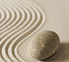 Stone on raked sand by christopherjl