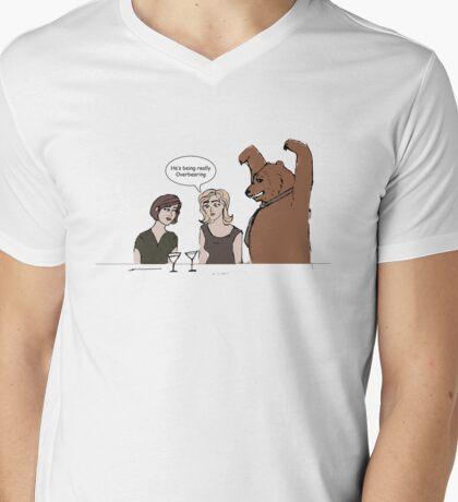 Over Bearing Mens V-Neck T-Shirt