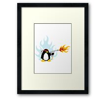 Flamethrower Penguin Framed Print