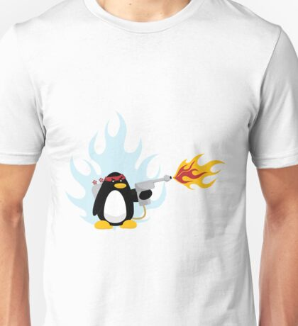 Flamethrower Penguin Unisex T-Shirt